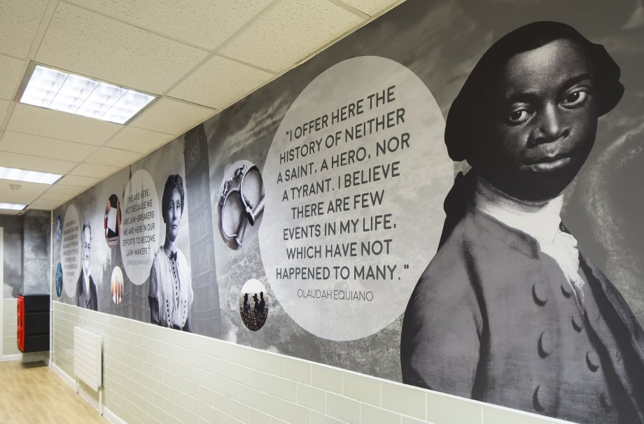 Bishop Challoner-School Olaudah Equiano greatest minds corridor wall art