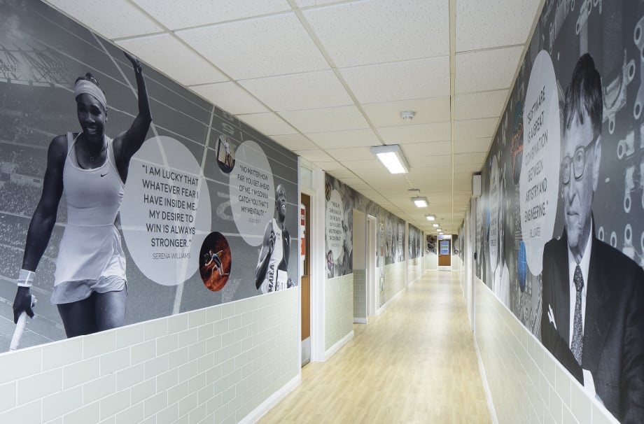 Bishops Challoner School greatest minds inspirational corridor wall art