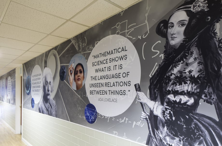 Bishop Challoner Ada Lovelace quote corridor wall art