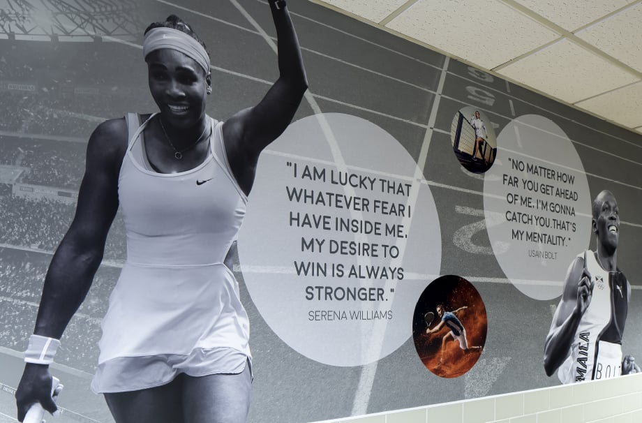 Bishop Challoner School Serena Williams motivational quote corridor wall art