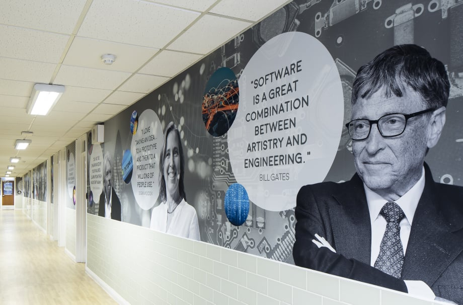 Bishop Challoner Bill Gates inspirational quote corridor wall art