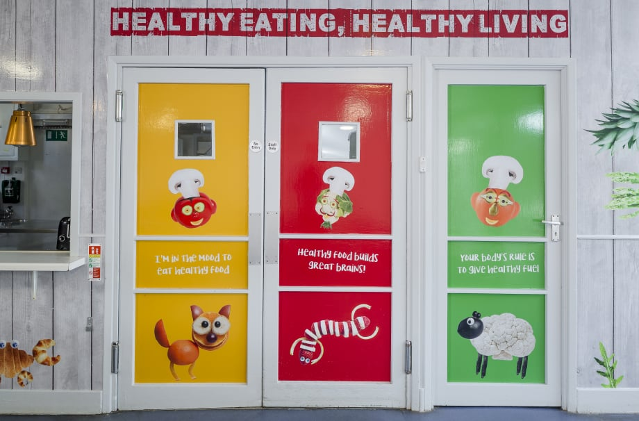 Immersive vibrant healthy eating canteen Wall Art