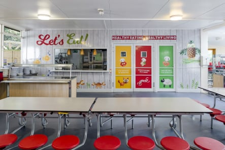 Reigate St Mary's Preparatory and Choir School healthy eating canteen wall art