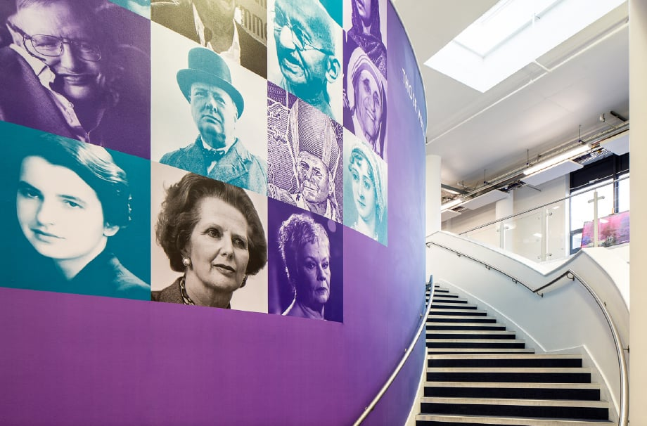 Sarum Academy iconic individuals themed stairway wall art