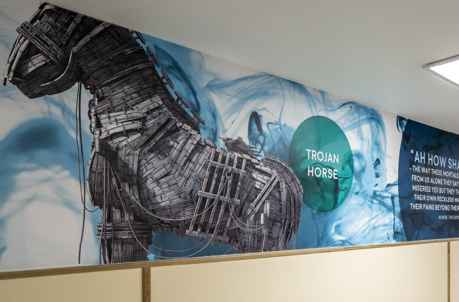 Harlow school Trojan horse themed corridor wall art