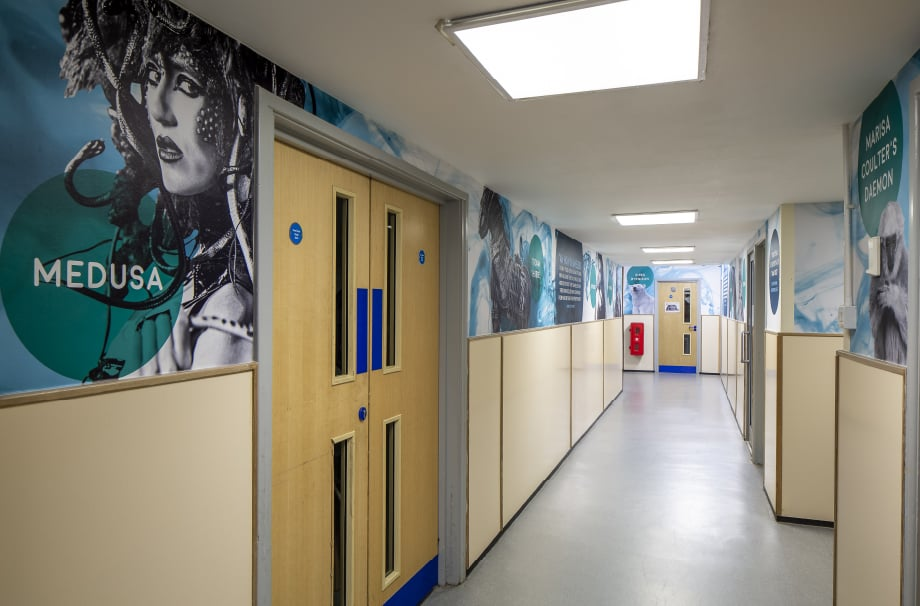 Harlow school medusa theme corridor wall art