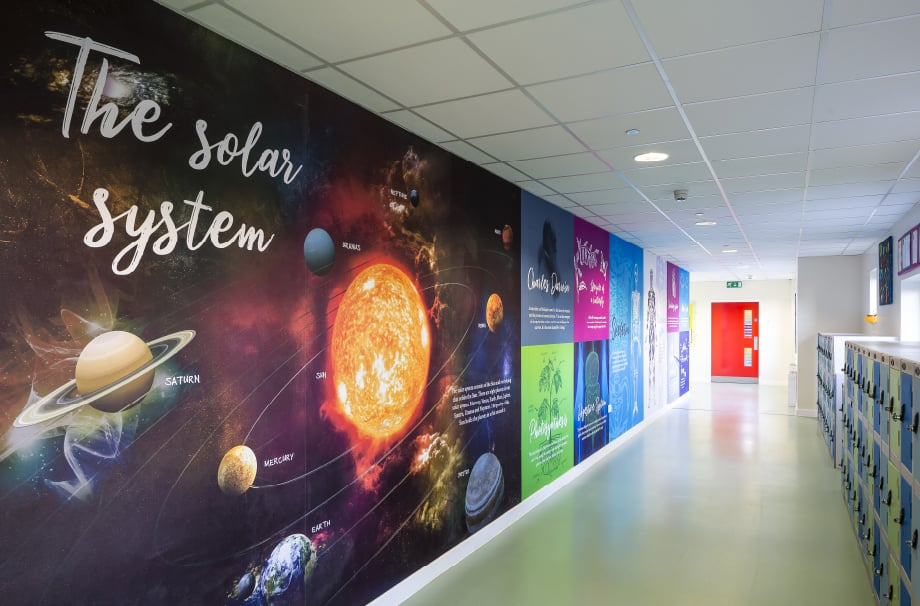 Churchfield Junior science corridor large format wall art