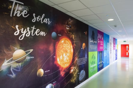 Churchfields Junior School Science large format corridor wall art
