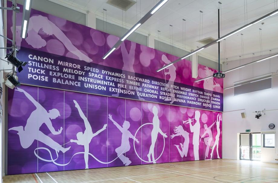 Churchfields Junior school bespoke sports hall sport themed wall art
