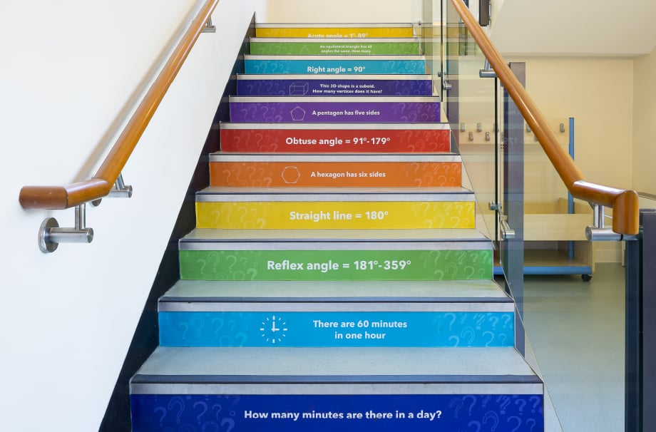 Churchfield Junior School Stairwell Makeover Design wall art