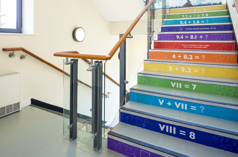 Churchfields Primary School bespoke stairwell makeover bespoke wall art