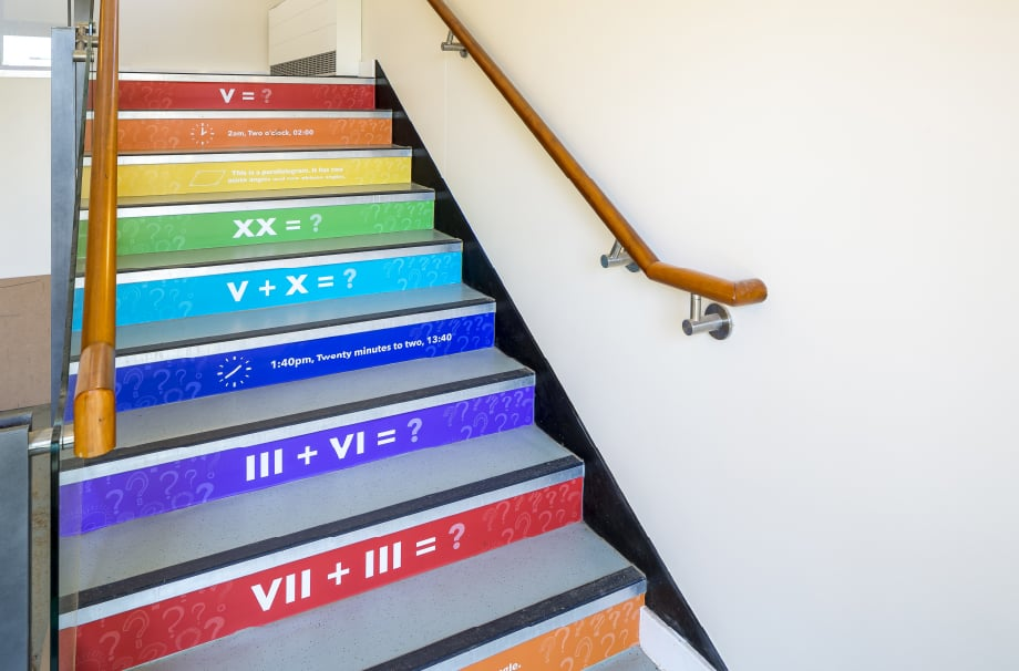 Churchfields Junior School Maths stairwell makeover wall art