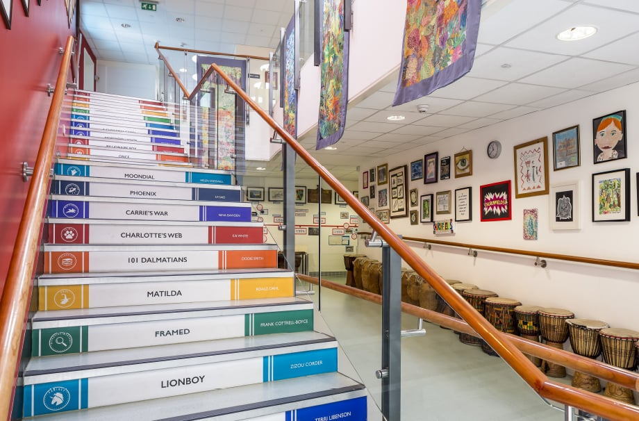 Churchfield Junior School Stairwell Makeover Design wall art