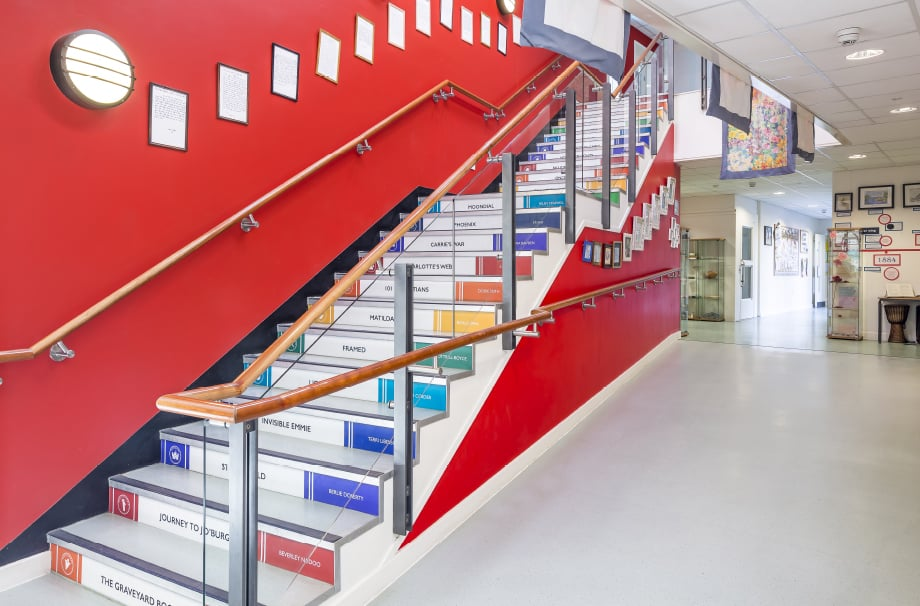 School subject themed inspiring stairwell makeover design wall art