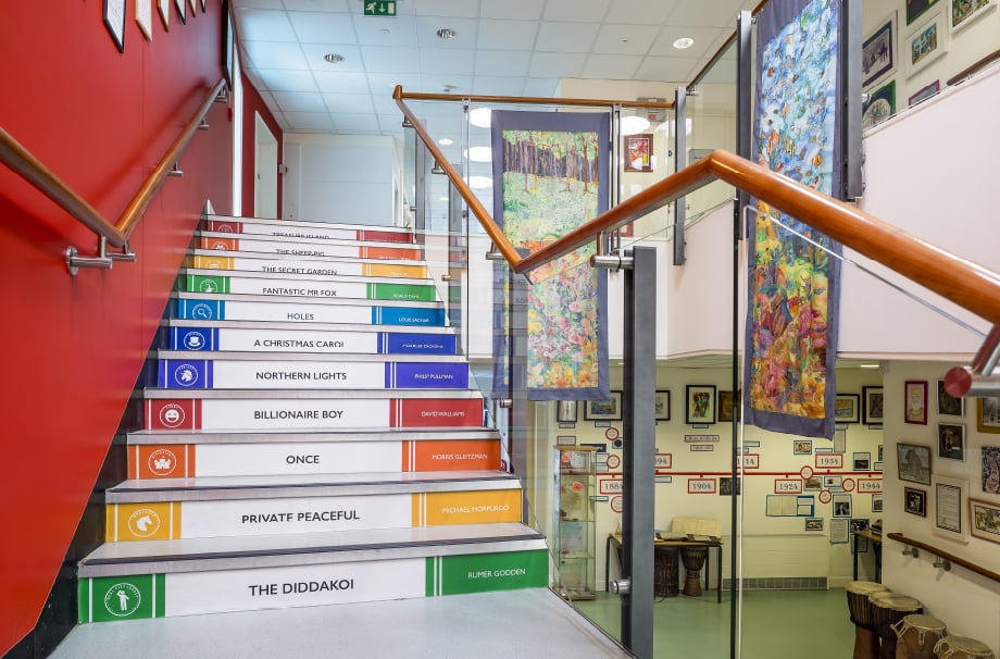 Churchfield Junior English subject bespoke stairwell redesign
