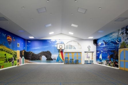 Coventry School geography sports hall wall art