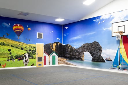 Frederick Bird Primary School nature theme hall wall art