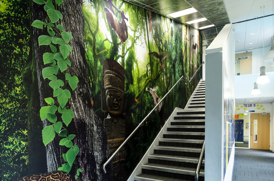 Coventry School large format nature theme immersive stairway wall art