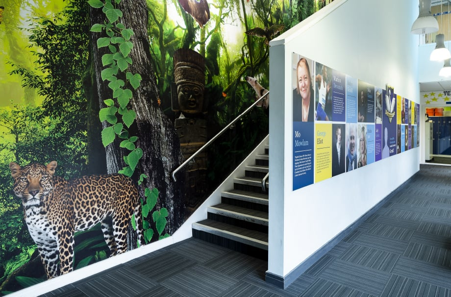 Frederick Bird School bespoke rainforest stairway wall art