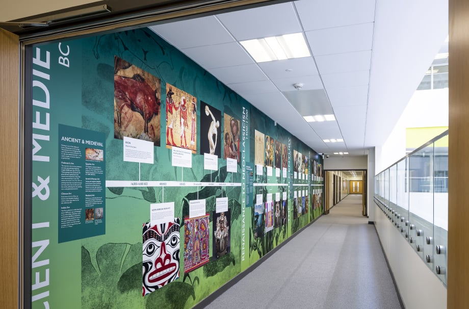 Alperton Community School history timeline corridor wall art