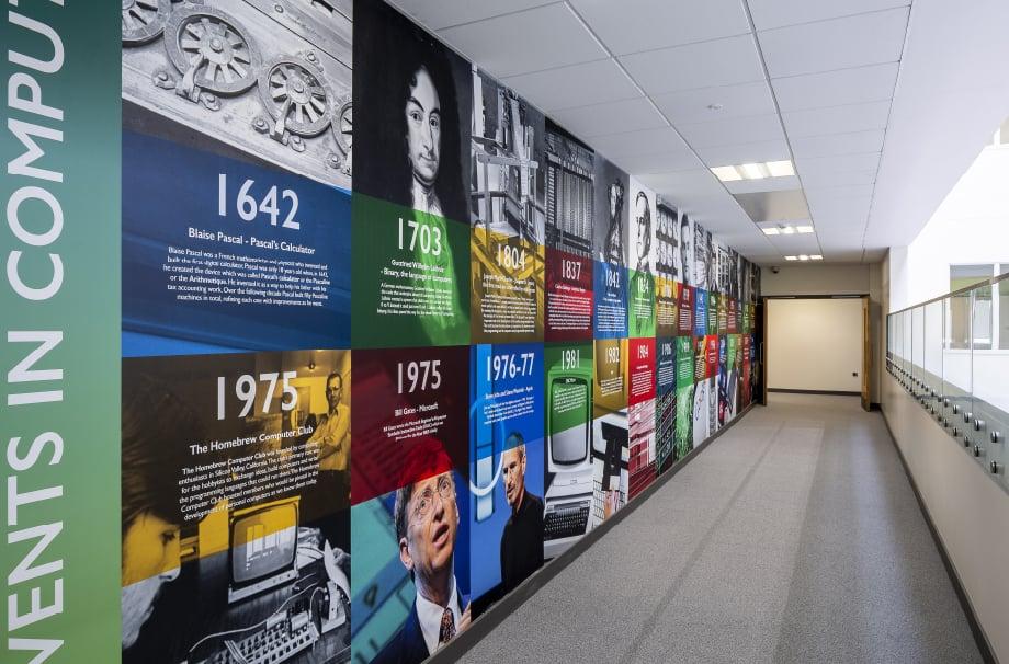 London Community School subject event timeline corridor wall art