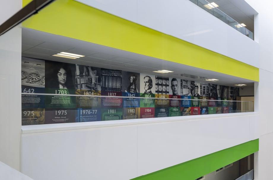 London Community School history timeline large format atrium wall art