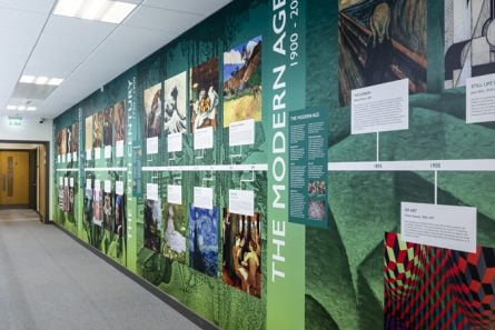 Alperton Community School subject zone timeline wall art