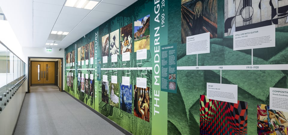 Alperton Community School subject event timeline wall art