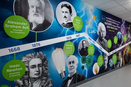 Edison School science timeline wall art