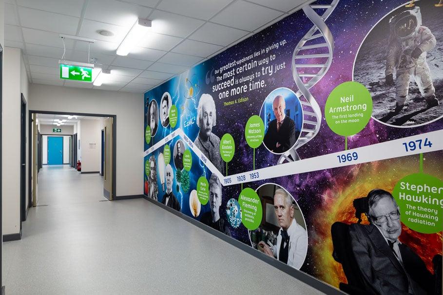 Edison School Science timeline bespoke corridor wall art