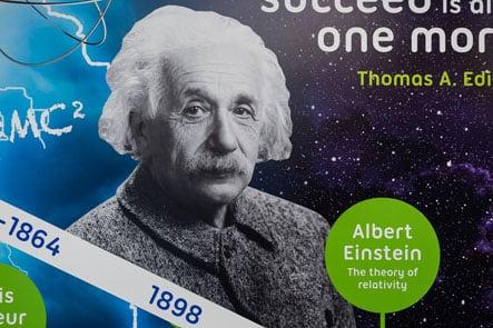 Edison School Albert Einstein science timeline corridor wall art