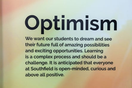 School values optimism feature bespoke reception area wall art