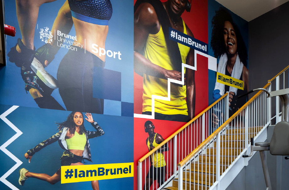 Brunel University gym stairwell visual wall art