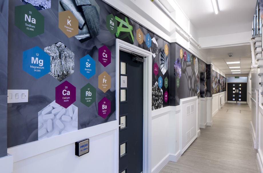 School wall graphics science corridor