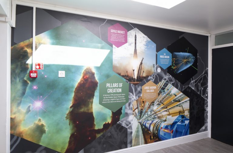 School wall graphics science corridor