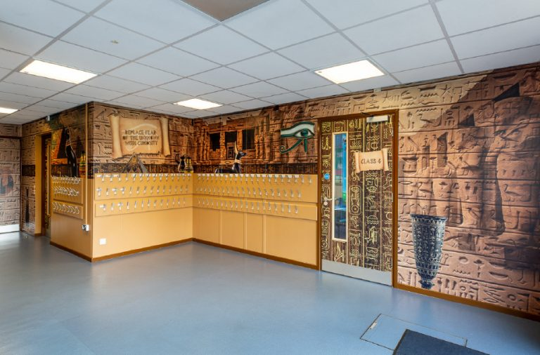 Egyptian themed cloakroom
