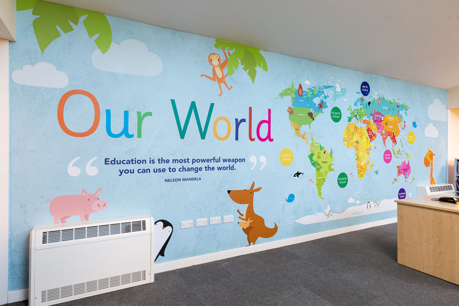 Burton End Primary Academy - World map feature wall