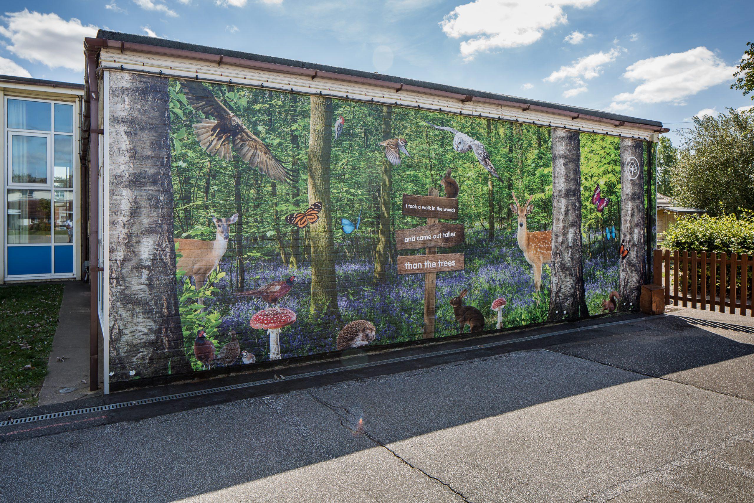 Cherry Tree Academy - external woodland feature wall