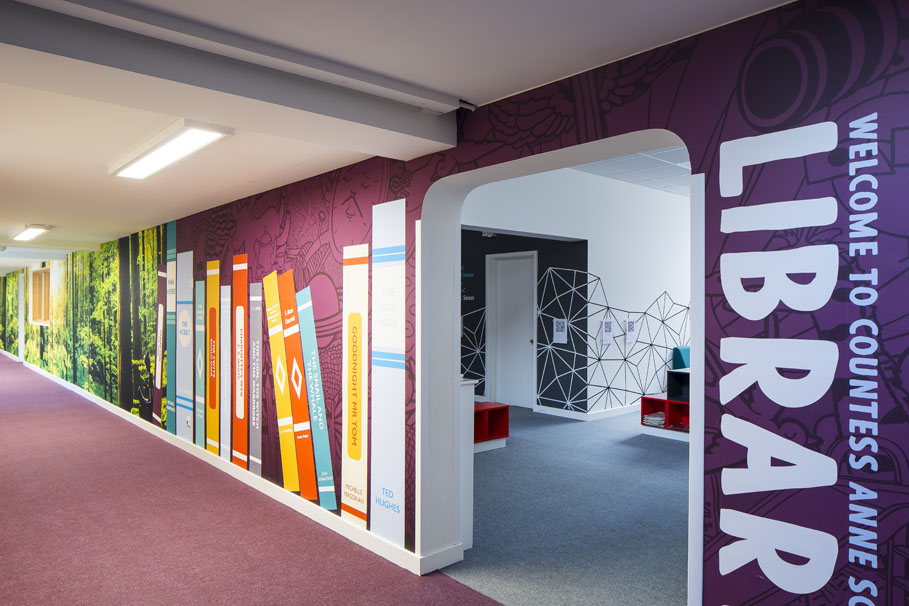 Countess Anne library entrance wall art
