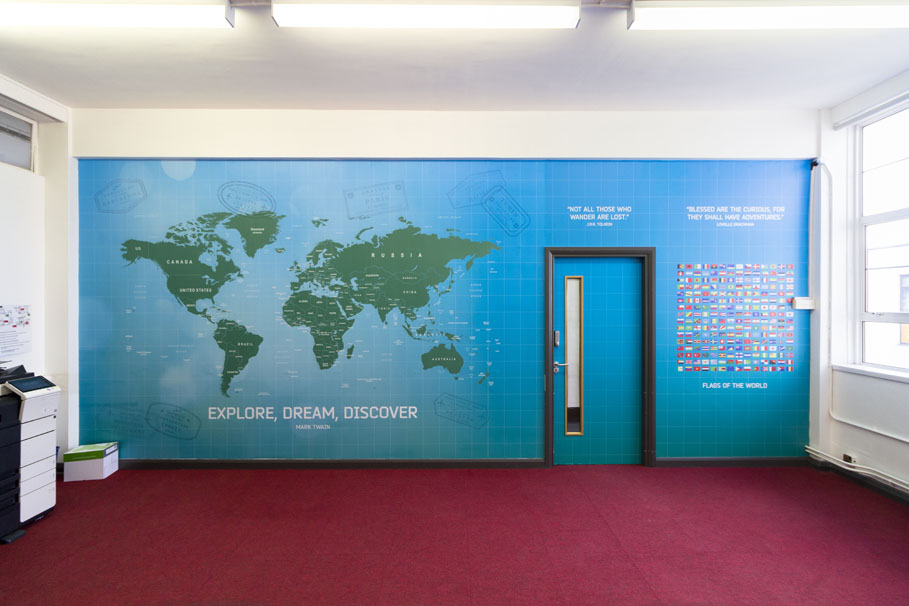 Townley Grammar School – magnetic map wall
