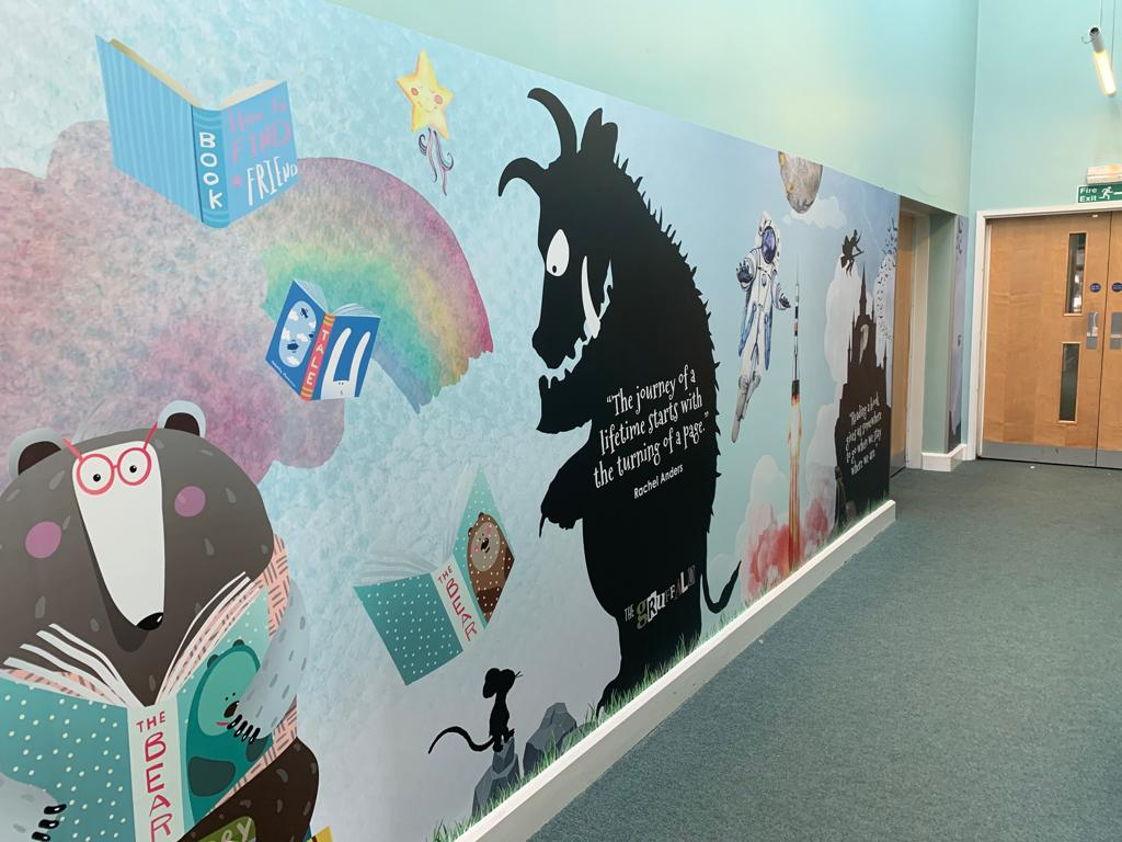 school library wall art