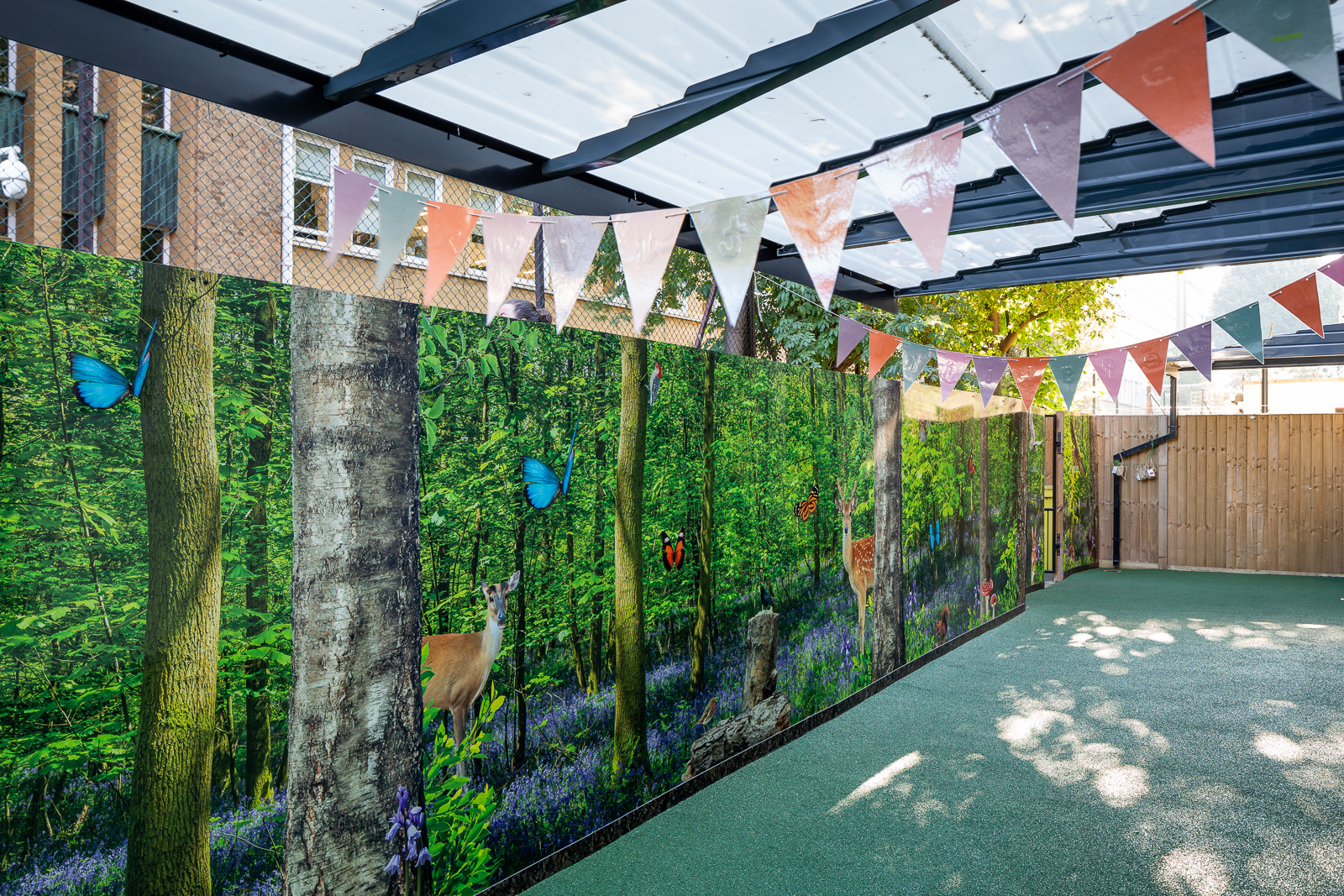 One World Nursery outdoor bespoke wall art feature