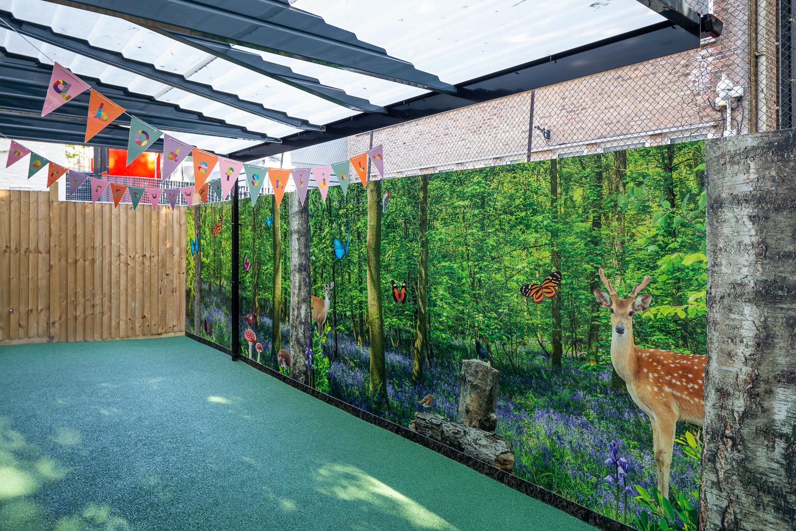 Outdoor wall art installation image