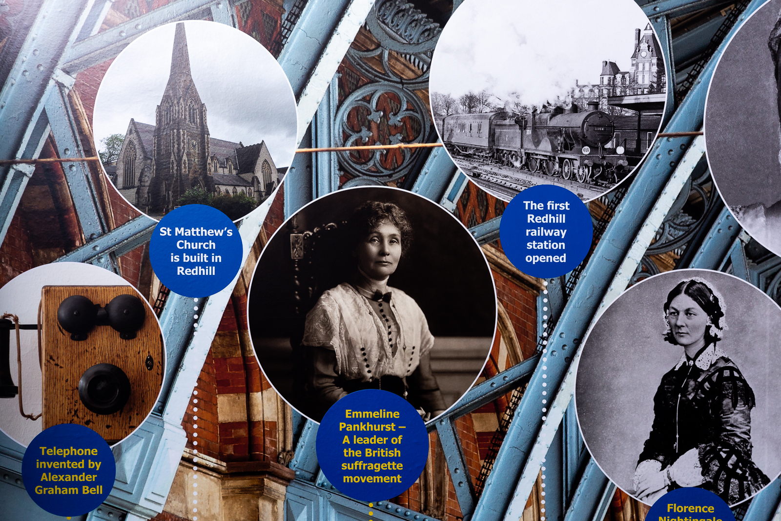 Image of completed installation with school history wall art timeline