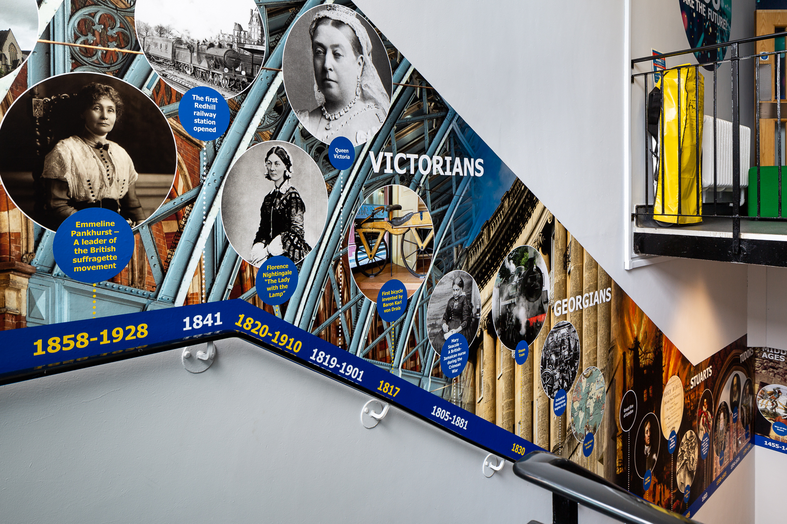 School corridor image featuring a bespoke history timeline wall art feature