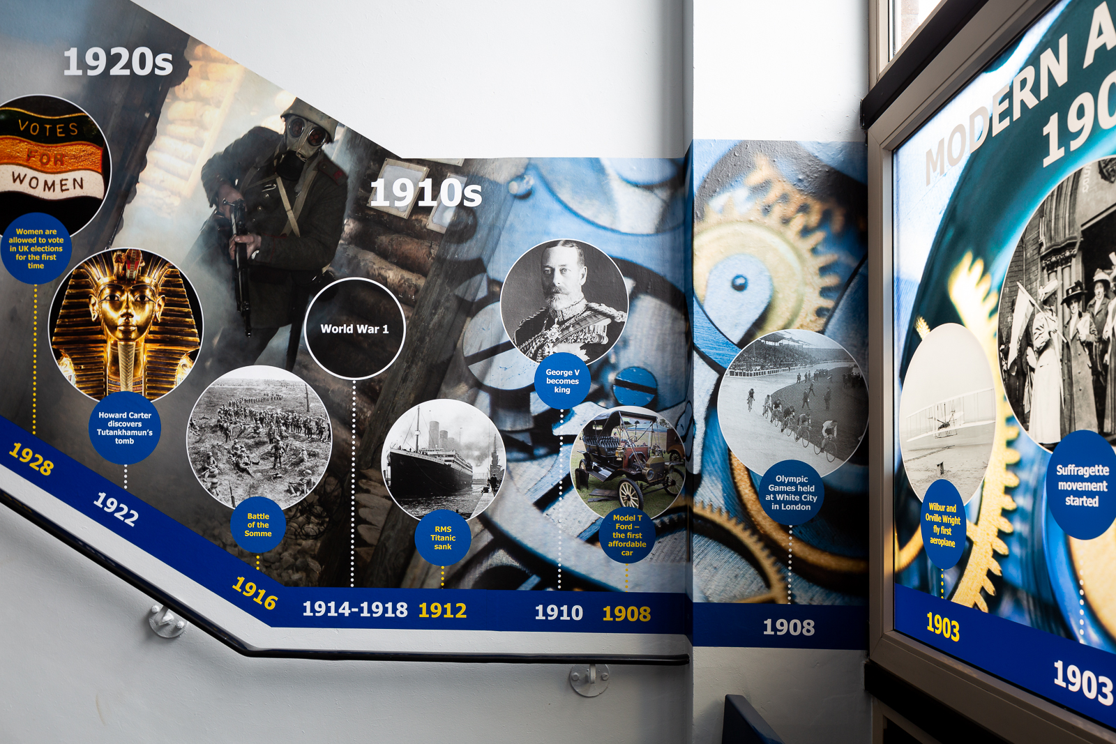 image of school installation with a history corridor timeline wall art