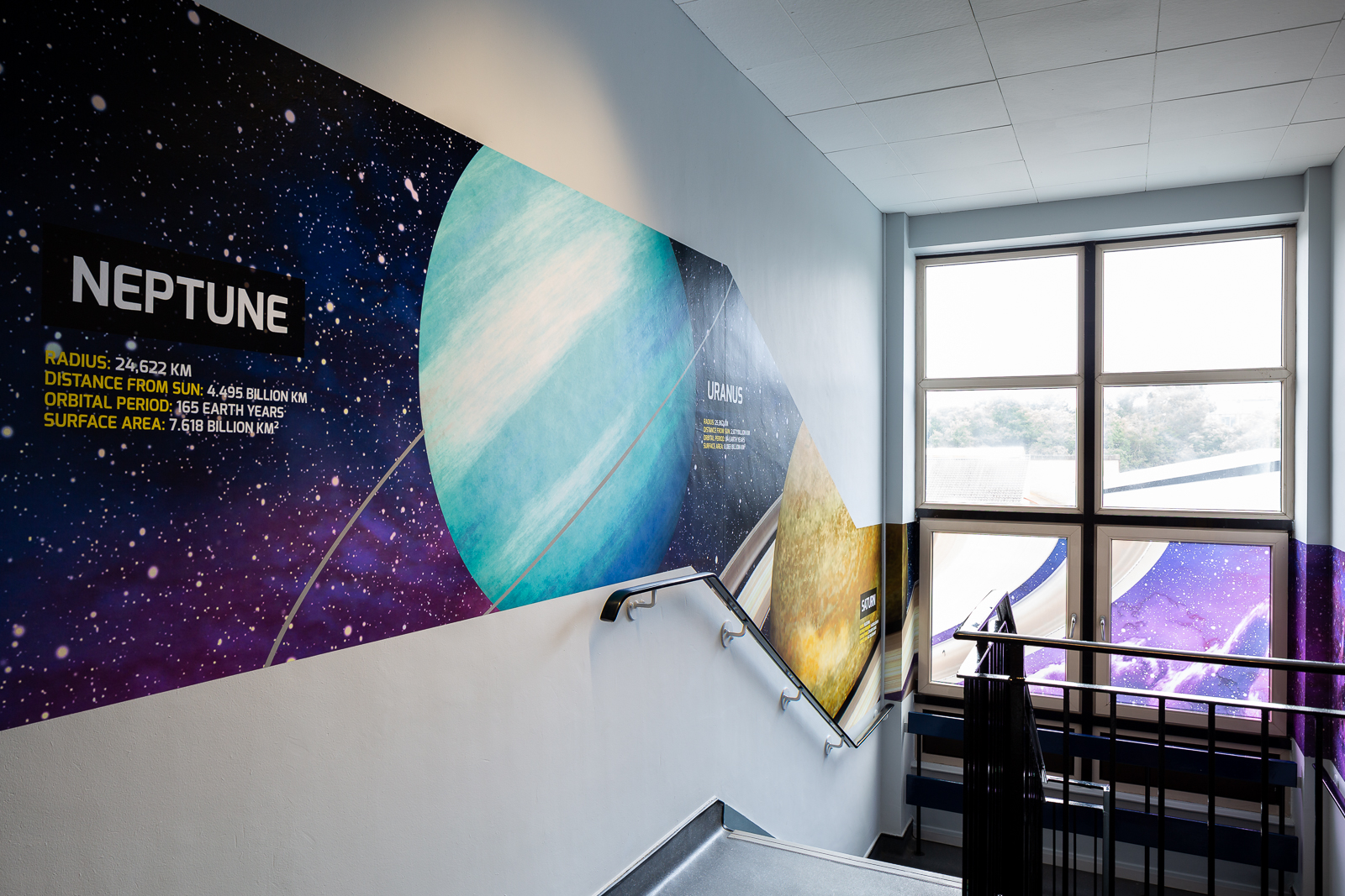 image from completed school stairway wall art installation
