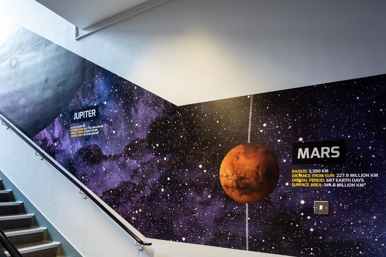 Solar system themed wall art in school corridor
