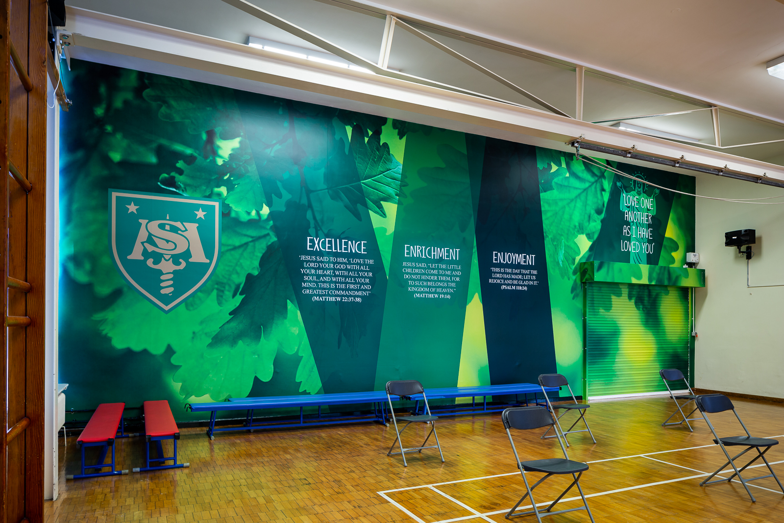 image of school hall with custom wall art feature