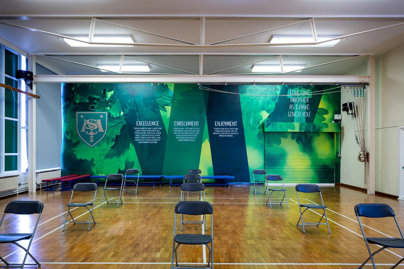 image of custom school hall wall art